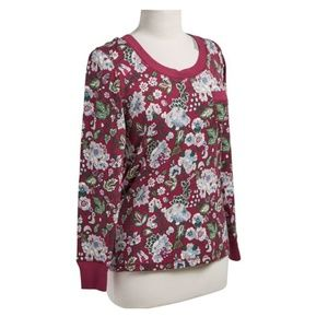 Vera Bradley Bordeaux Blooms Pajama Top